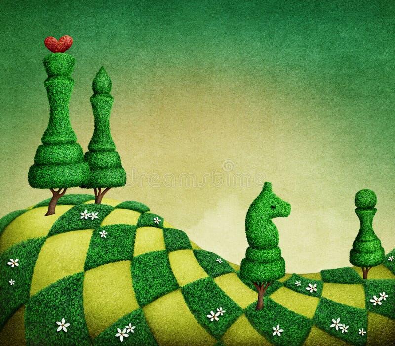 Grüne Schachfiguren lizenzfreie abbildung