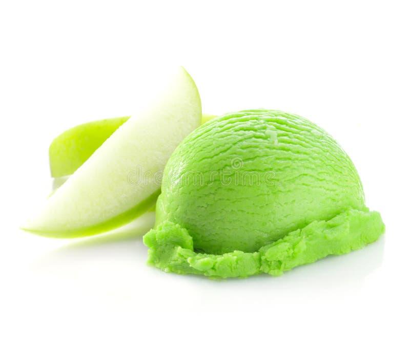Grüne Schaufel der Eiscreme lizenzfreie stockfotos