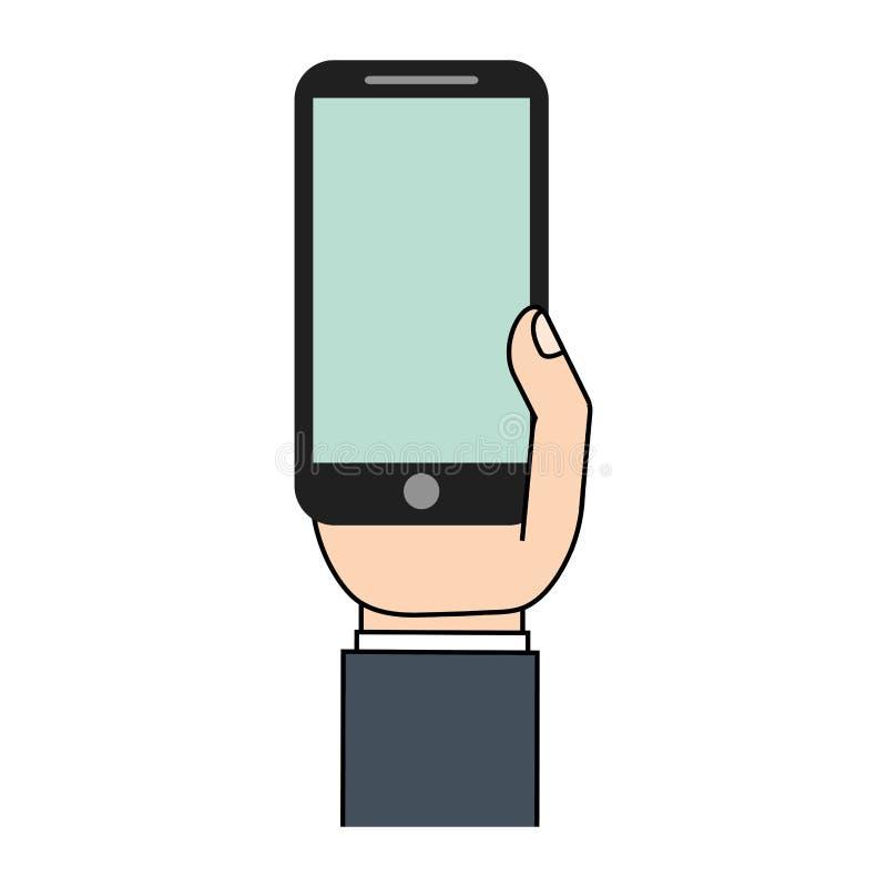 grüne Schirmikone des Handys in der Hand vektor abbildung