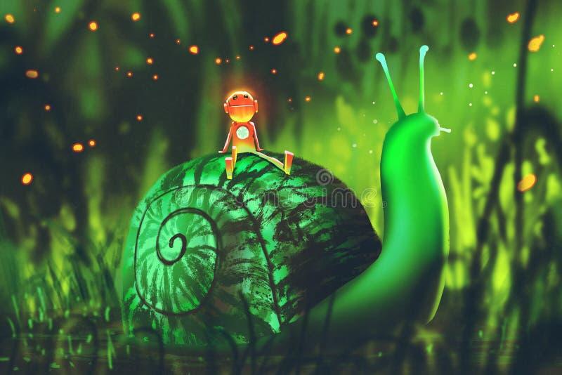 Grüne Schnecke mit nettem Roboter sitzt auf seiner Rückseite gegen Nachtwald vektor abbildung