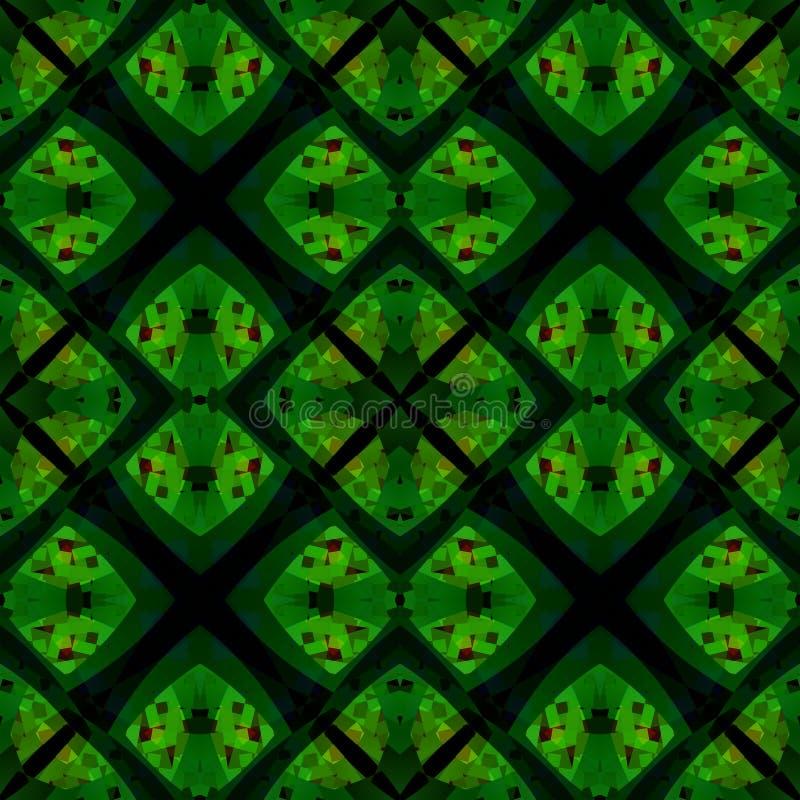Grüne schwarze moderne abstrakte Beschaffenheit Ausführliche Hintergrundillustration Textildruckmuster Geometrische nahtlose Flie lizenzfreie abbildung
