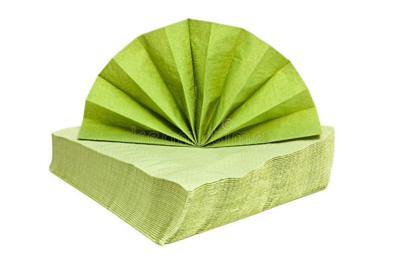 Grüne Servietten. stockbilder