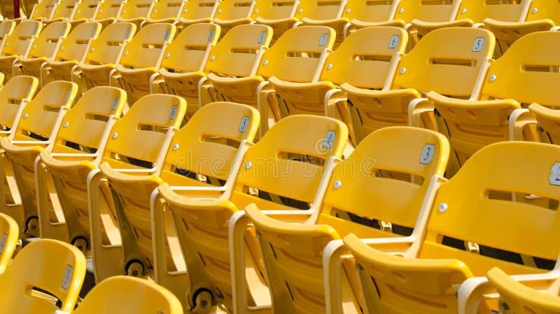 Grüne Sitze des Stadions stockbild