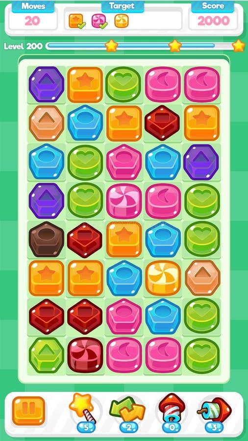 Grüne Spiel-Anlagegüter des Süßigkeits-Match-drei vektor abbildung