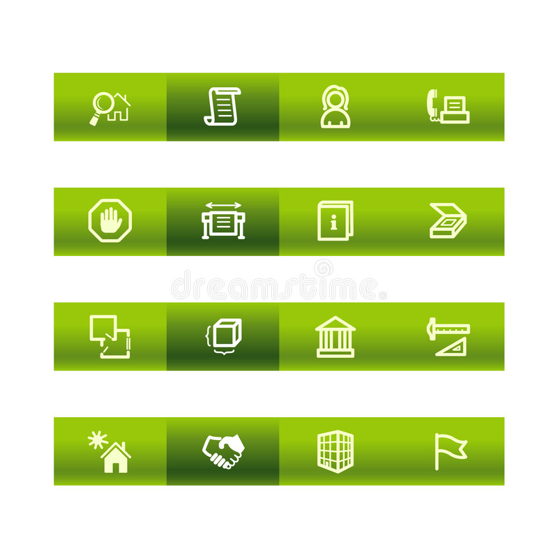 Grüne Stabgebäudeikonen vektor abbildung