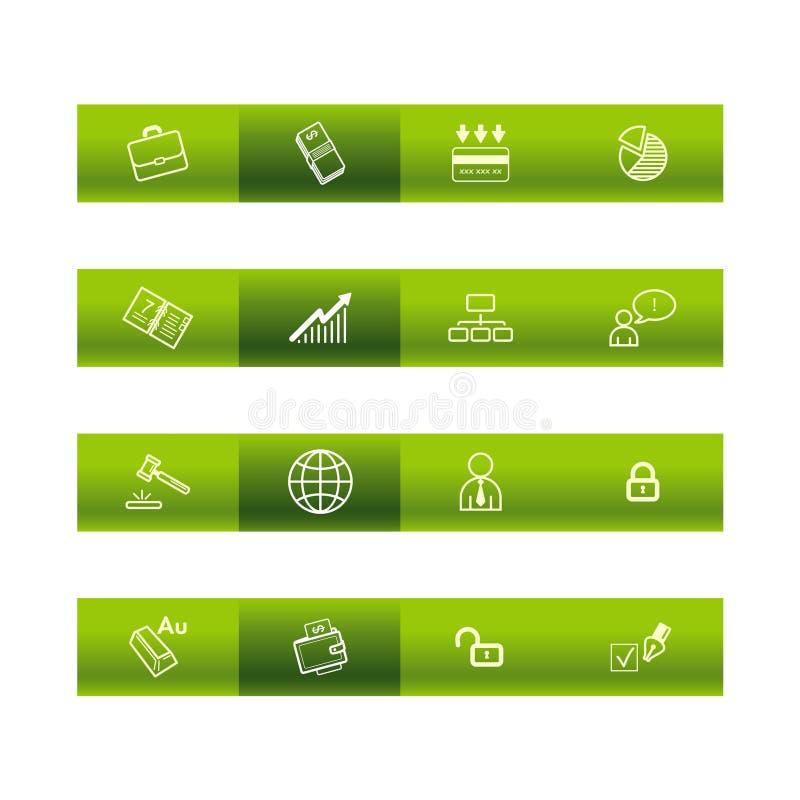 Grüne Stabgeschäftsikonen lizenzfreie abbildung