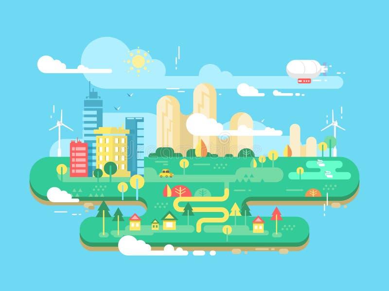 Grüne Stadt flach stock abbildung