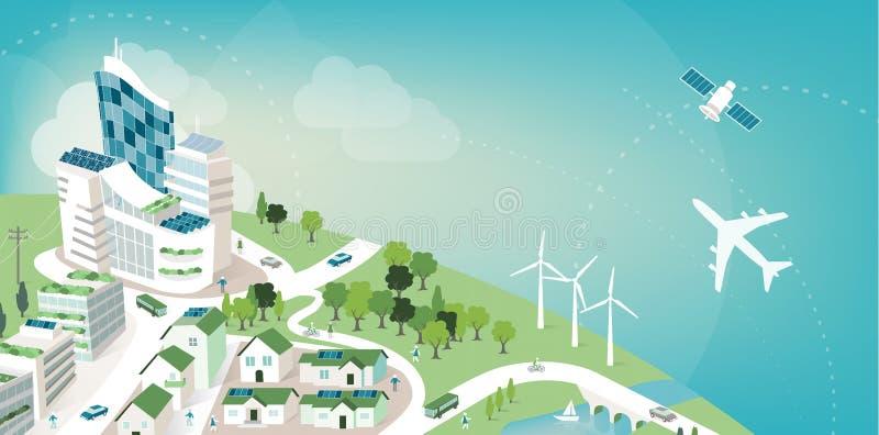 Grüne Stadtfahne lizenzfreie abbildung