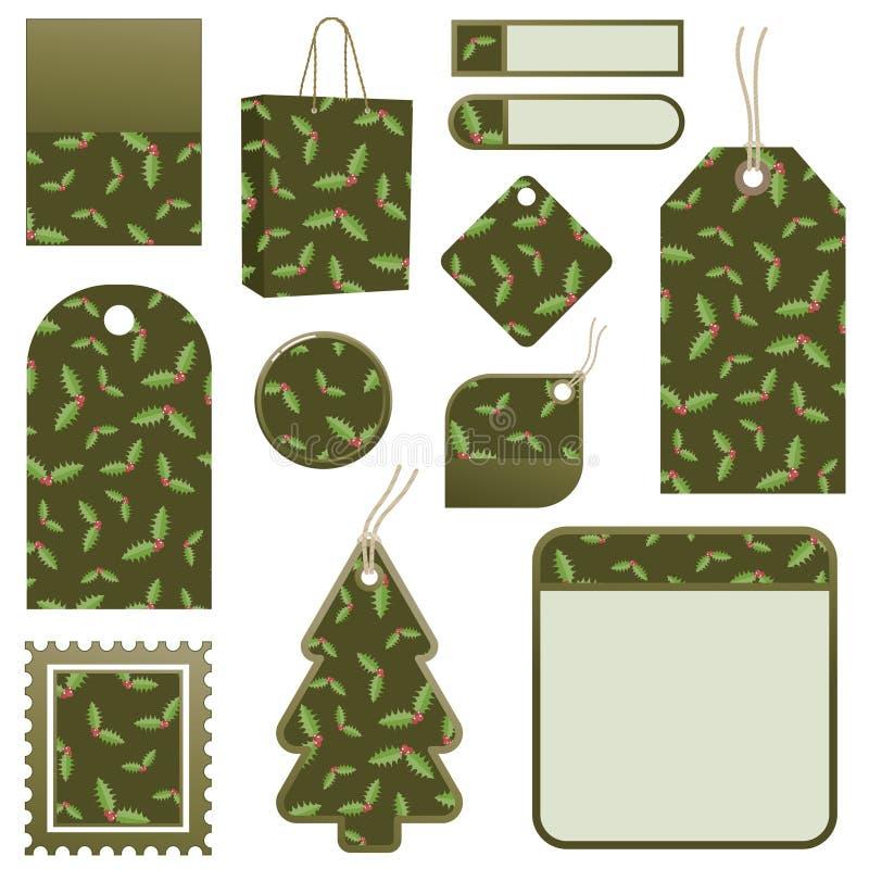 Grüne Stechpalmeweihnachtsmarken vektor abbildung