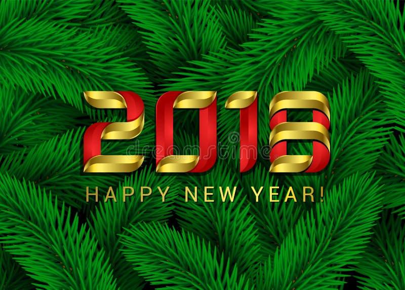 Grüne Tannen-Baumaste des guten Rutsch ins Neue Jahr-2018 Weihnachtshintergrund-Zusammenfassungs-Vektor-Illustration Zahl 3d feie vektor abbildung