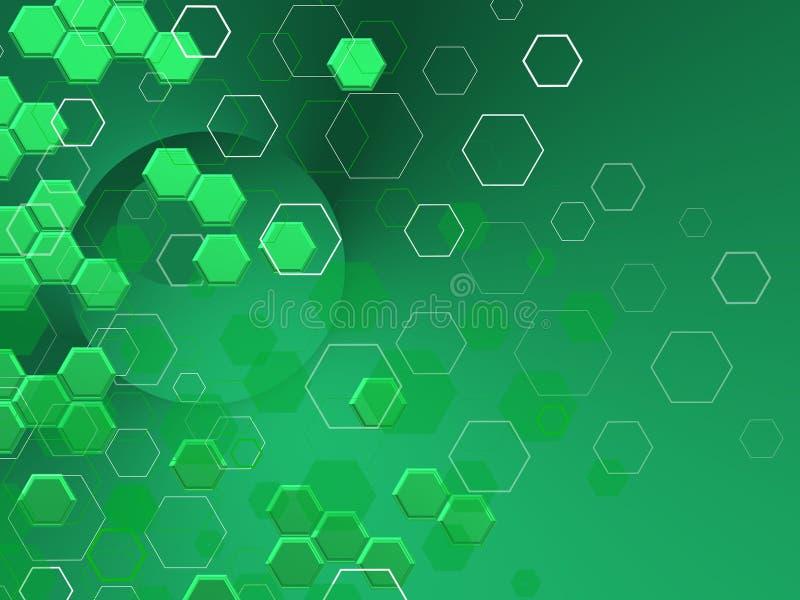 GRÃœNE TECHNOLOGIE Hexagone in differnts shaphes ÃœBER hellem Hintergrund stock abbildung