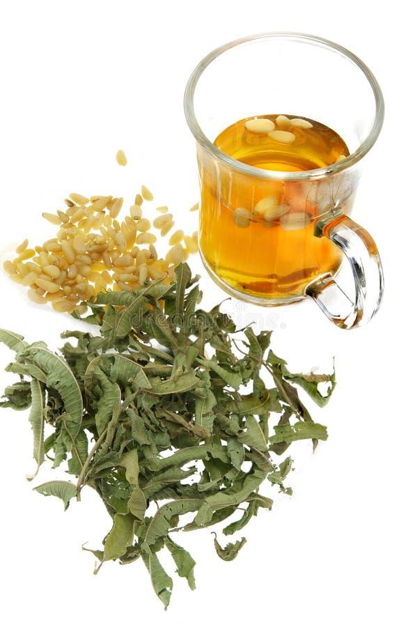 Grüne Teeblätter und Getränk lizenzfreies stockfoto