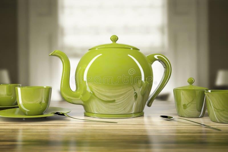Grüne Teekanne und Teetassen lizenzfreie abbildung