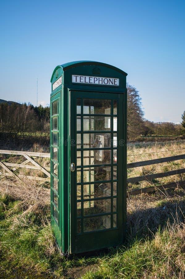 Grüne Telefonzelle, Fangdale Beck, Bilsdale, North Yorkshire lizenzfreies stockbild