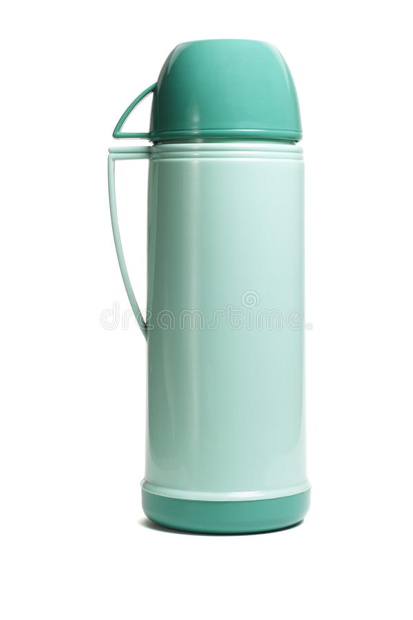 Grüne Thermosflasche stockfotos