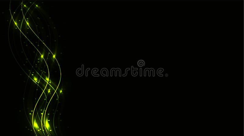 Grüne transparente abstrakte glänzende magische kosmische magische Energielinien, Strahlen mit grellem Glanz und Punkten und hell vektor abbildung