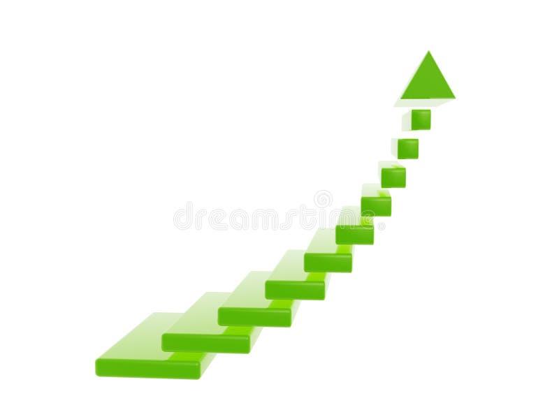 Grüne Treppenschritte wachsen Pfeil heran vektor abbildung