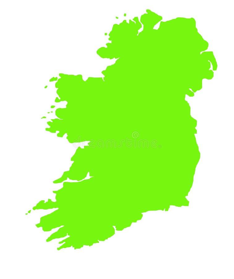 Grüne umreißkarte von Irland stock abbildung
