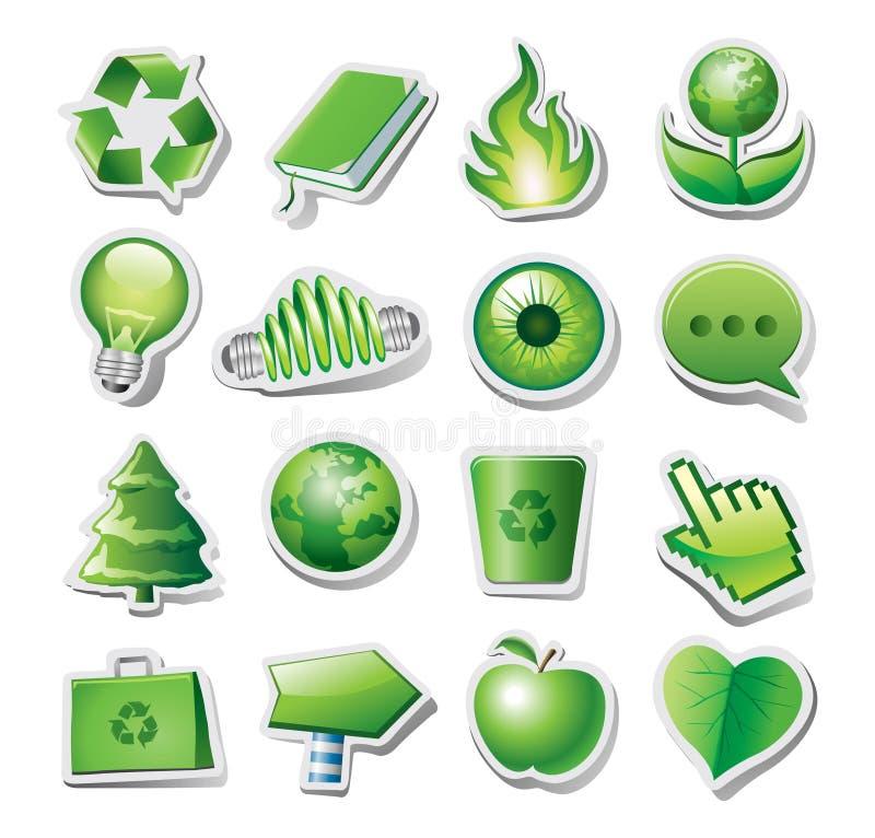 Grüne Umweltikonen stock abbildung