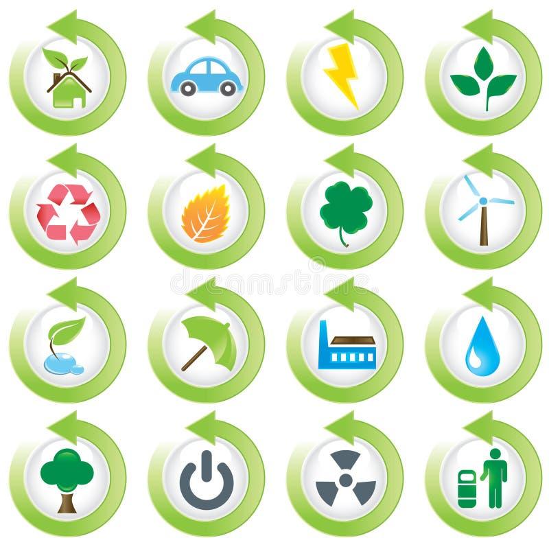 Grüne Umweltikonen vektor abbildung