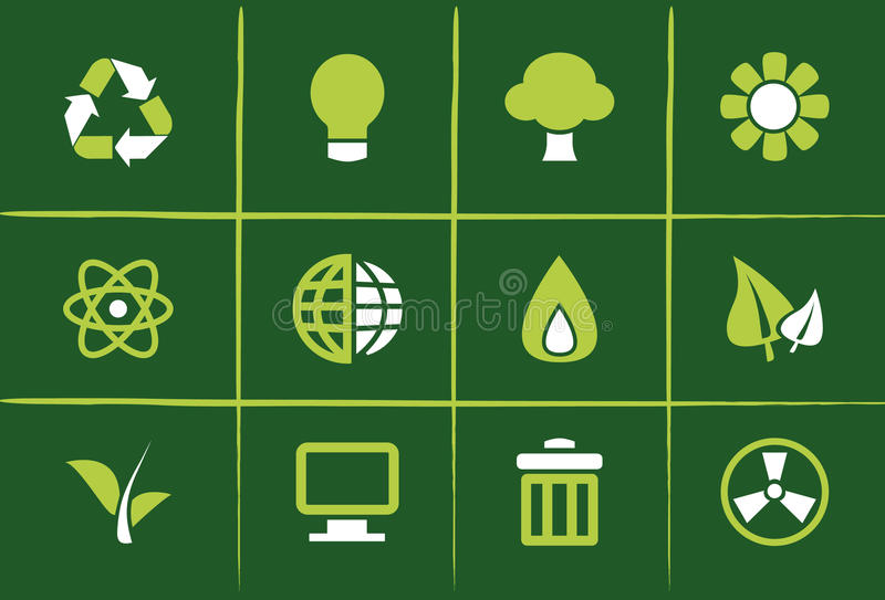 Grüne Umweltikonen und Grafiken stock abbildung