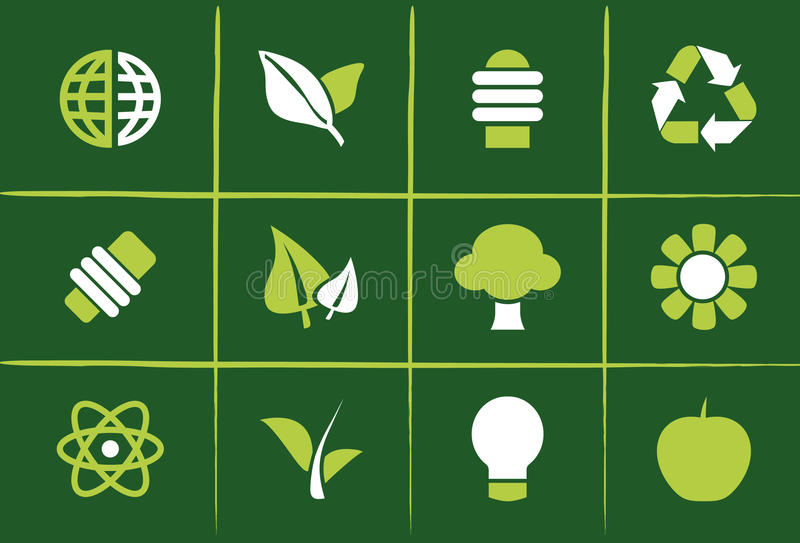 Grüne Umweltikonen und Grafiken lizenzfreie abbildung