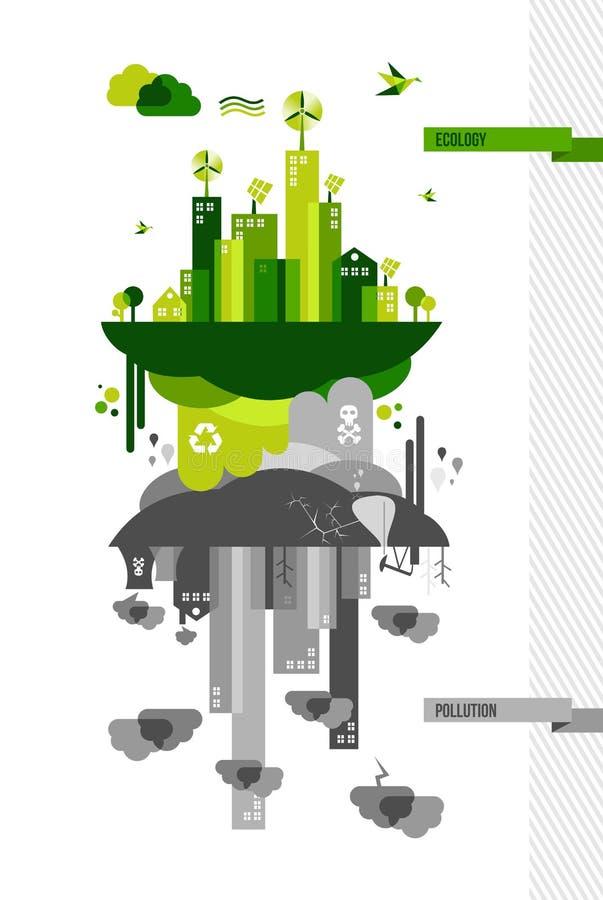 Grüne Umweltstadt-Konzeptillustration lizenzfreie abbildung