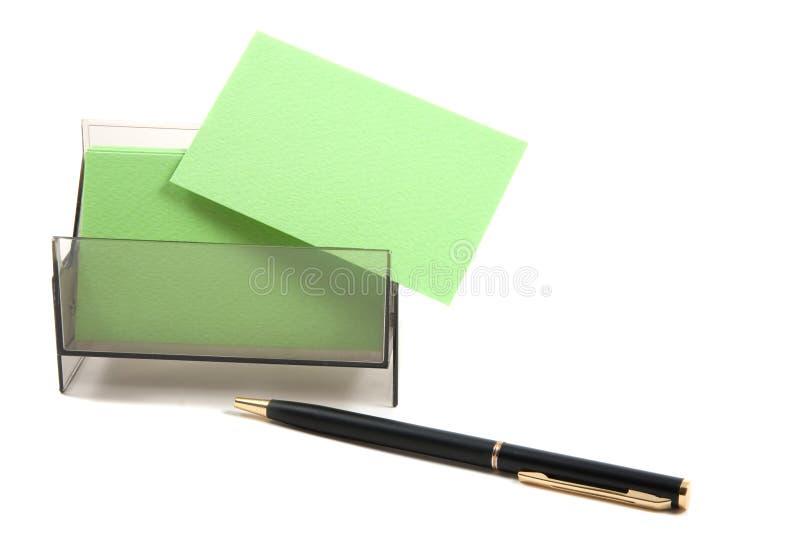 Grüne unbelegte Visitenkarte in einem Kasten lizenzfreies stockbild