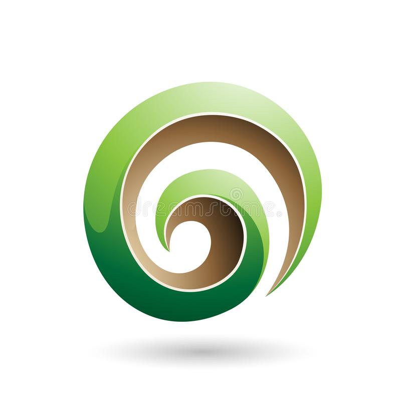 Grüne und beige glatte Form-Vektor-Illustration des Strudel-3d lizenzfreie abbildung