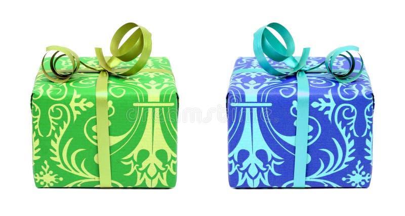 Grüne und blaue Geschenke stockbild