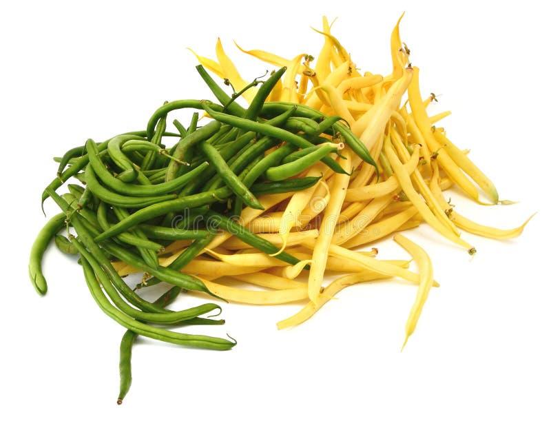 Grüne und gelbe Bohnen stockbilder
