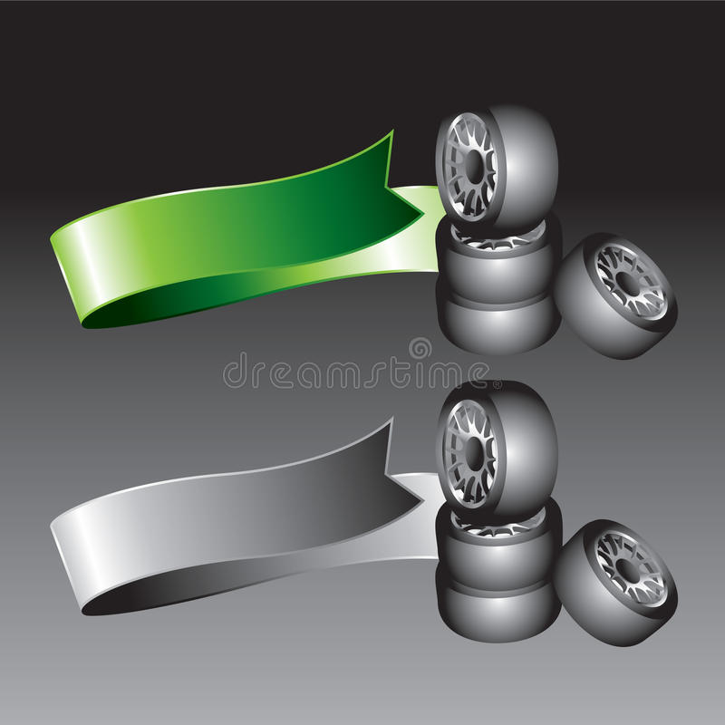 Grüne und graue Farbbänder mit gestapelten Gummireifen vektor abbildung