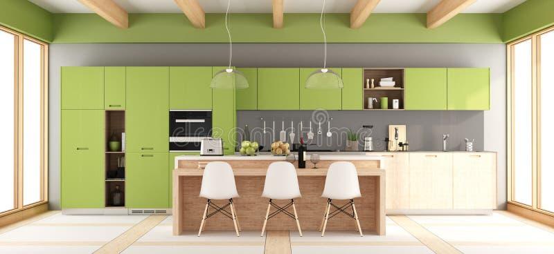 Moderne grüne Küche stock abbildung. Illustration von ...