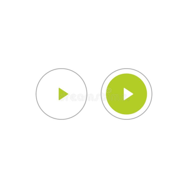 Grüne und graue Spielikonen im Kreis Film- oder Medienikone flach Taste pictogram lizenzfreie abbildung