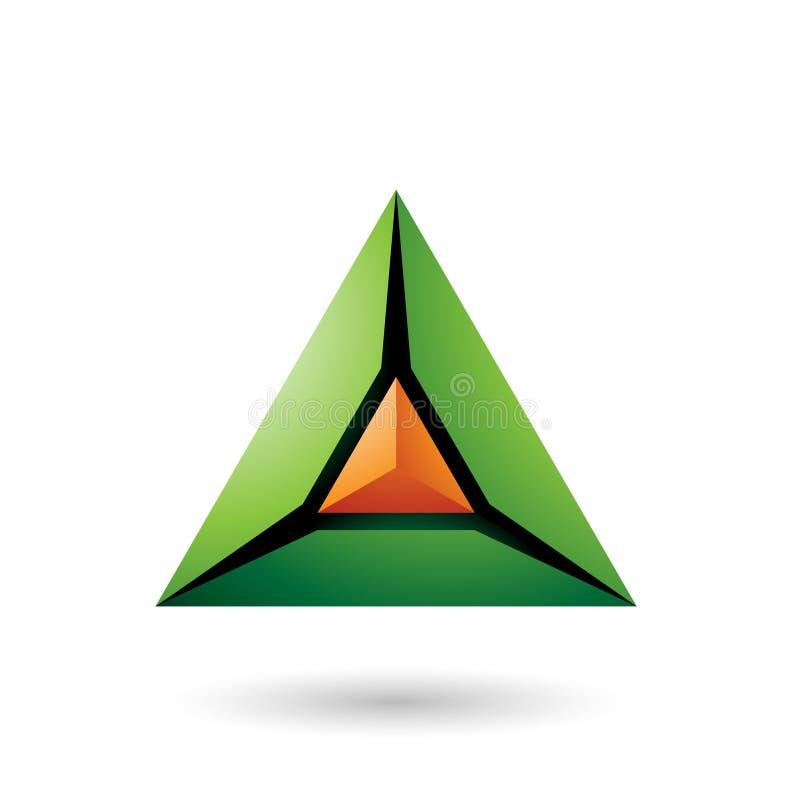 Grüne und orange Ikonen-Vektor-Illustration der Pyramiden-3d vektor abbildung