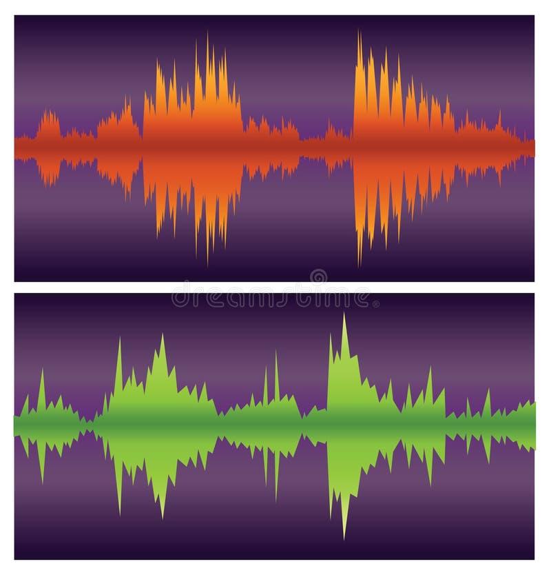 Grüne und orange Schallwellen auf Purpur vektor abbildung