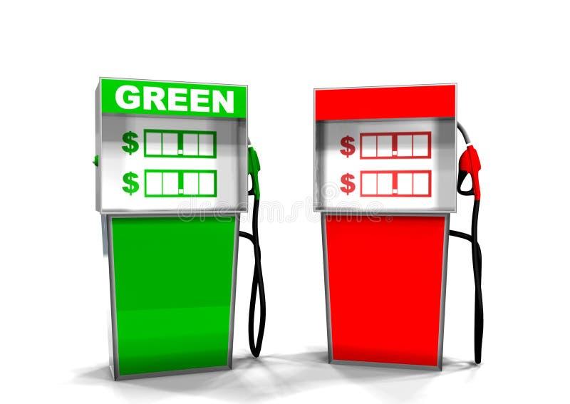 Grüne und rote Gas-Pumpe stockfotos