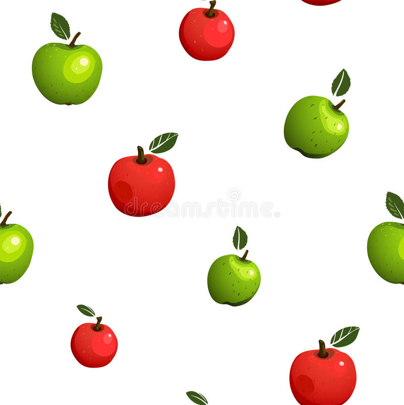 Grüne und rote nahtlose Muster-Illustration Apples stock abbildung