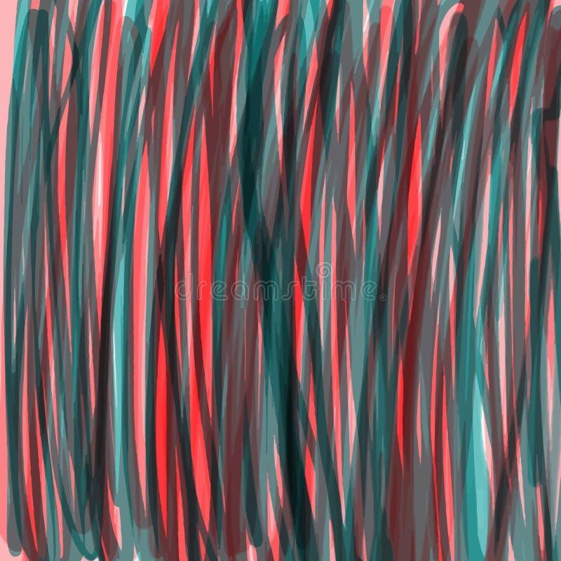 Grüne und rote Streifen der Farbe, Scheidungen, Linien, Hintergrund lizenzfreie abbildung