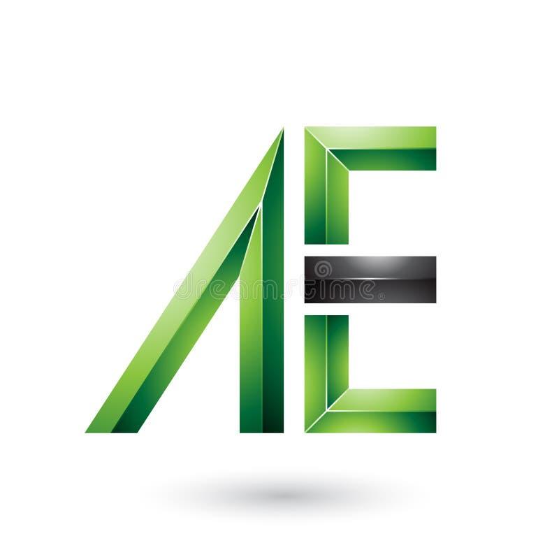 Grüne und schwarze glatte Doppelbuchstaben von A und von E lokalisiert auf einem weißen Hintergrund stock abbildung