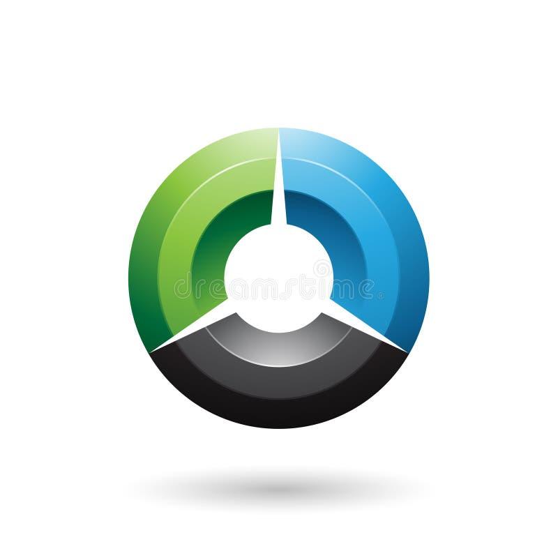 Grüne und schwarze glatte schattierte Kreis-Vektor-Illustration lizenzfreie abbildung