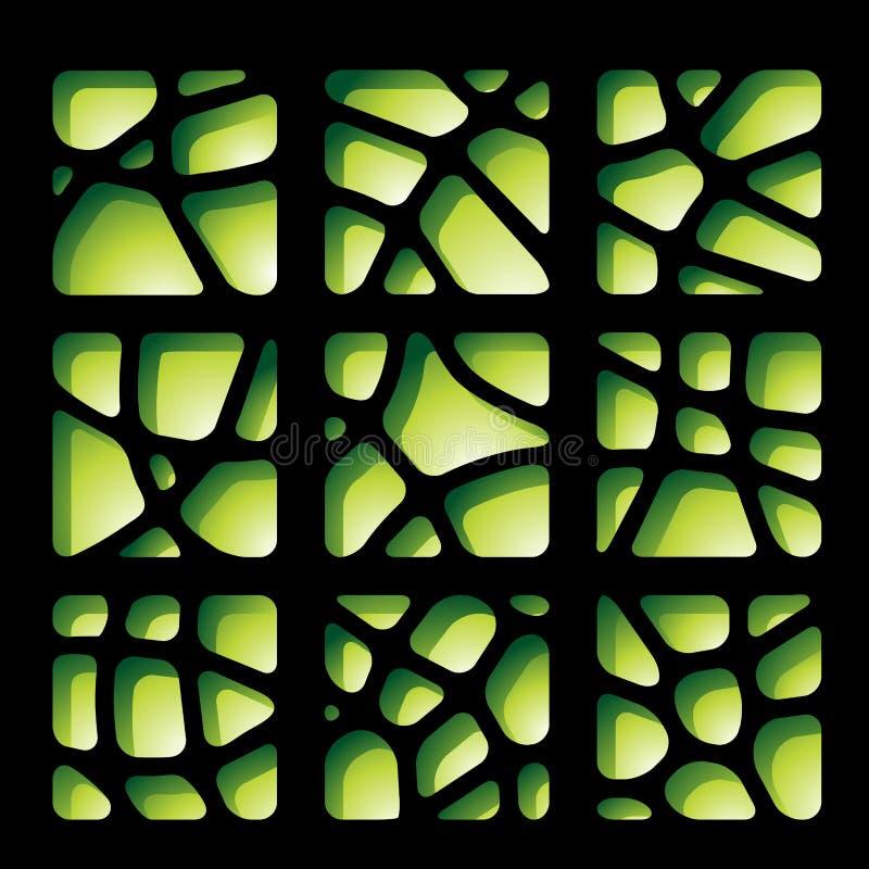 Grüne und schwarze Papierausschnitte stock abbildung