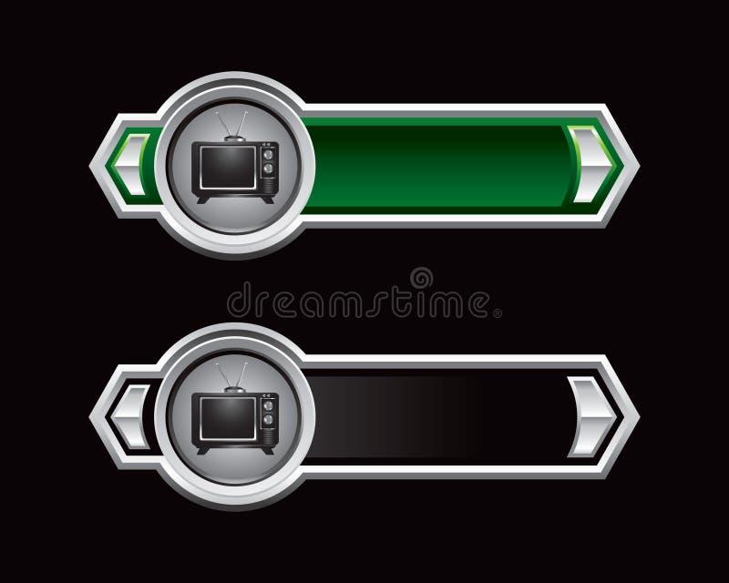 Grüne und schwarze Pfeile mit altmodischem Fernsehapparat lizenzfreie abbildung