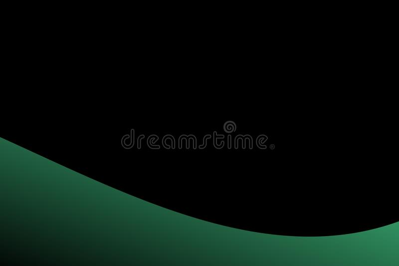 Grüne und schwarze schattierte Welle des abstrakten Vektors mit schwarzem Hintergrund Auch im corel abgehobenen Betrag vektor abbildung