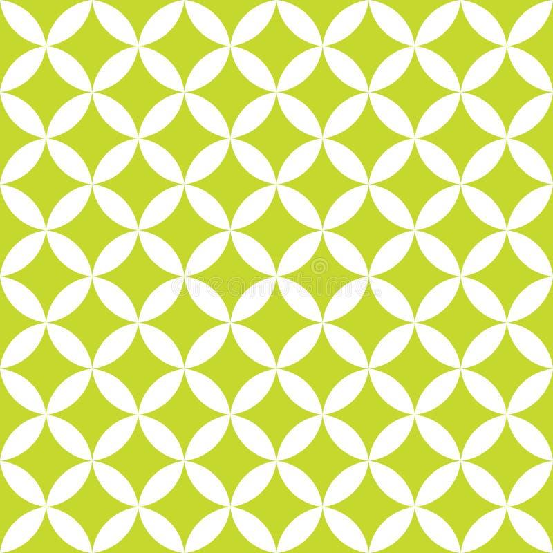 Grüne und weiße Überschneidungskreise Nahtloses Muster des abstrakten Retro- Designs Geometrischer Hintergrund des einfachen Vekt stock abbildung