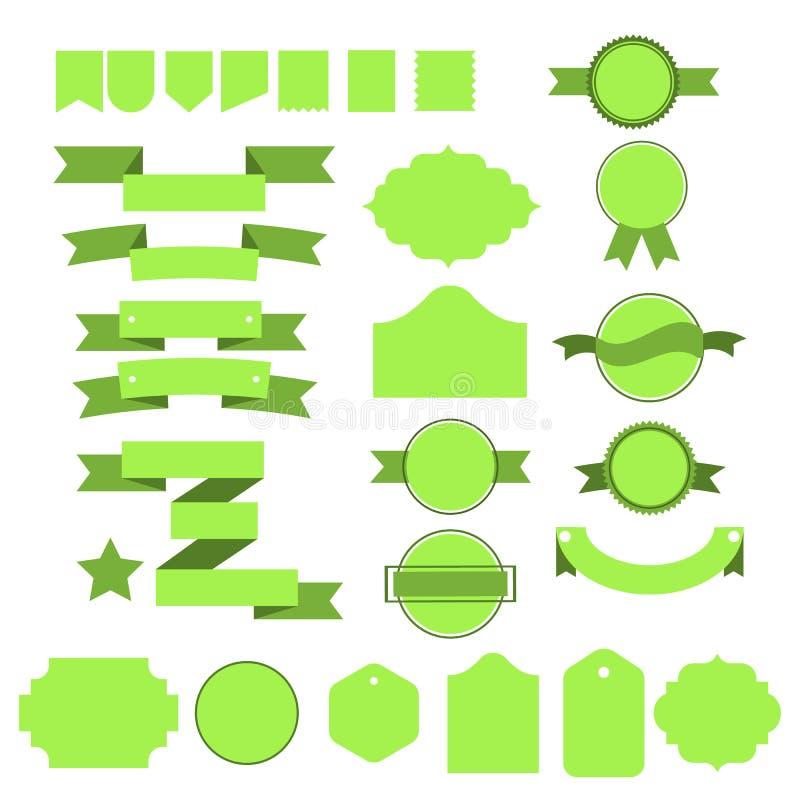 Grüne Vektor Bänder und lables stellten auf weißen Hintergrund ein vektor abbildung