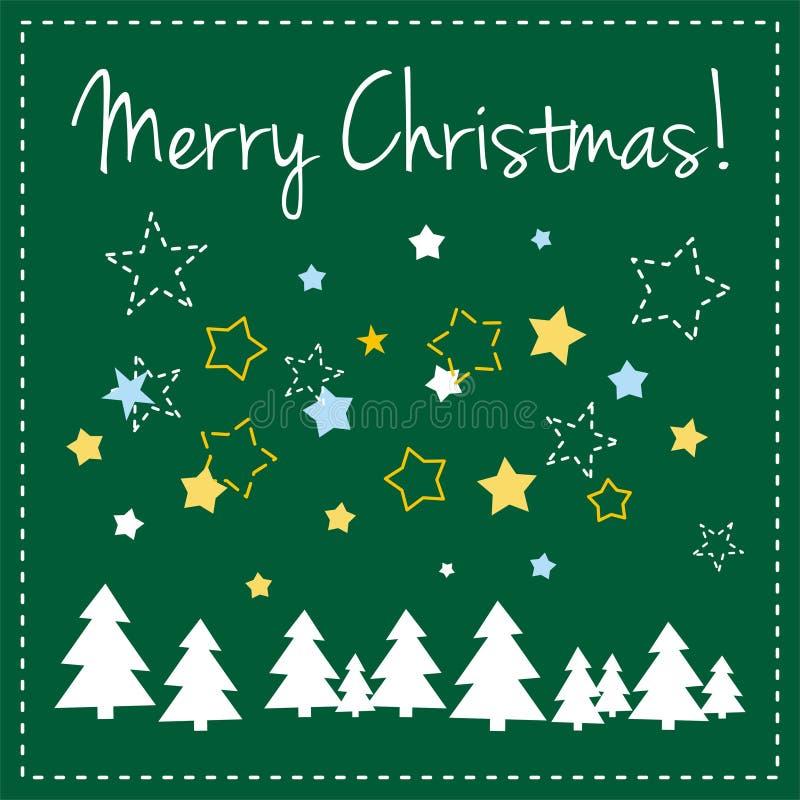 Grüne Vektorweihnachtskarte mit Bäumen und Wünschen lizenzfreie abbildung
