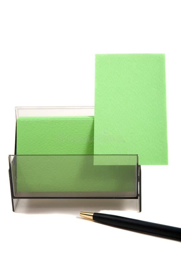 Grüne Visitenkarte in einem Kasten (mit Platz für Text) stockbild