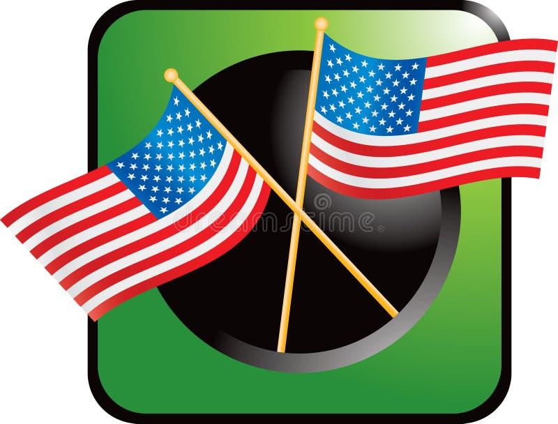 Grüne Web-Taste mit gekreuzten amerikanischen Flaggen vektor abbildung