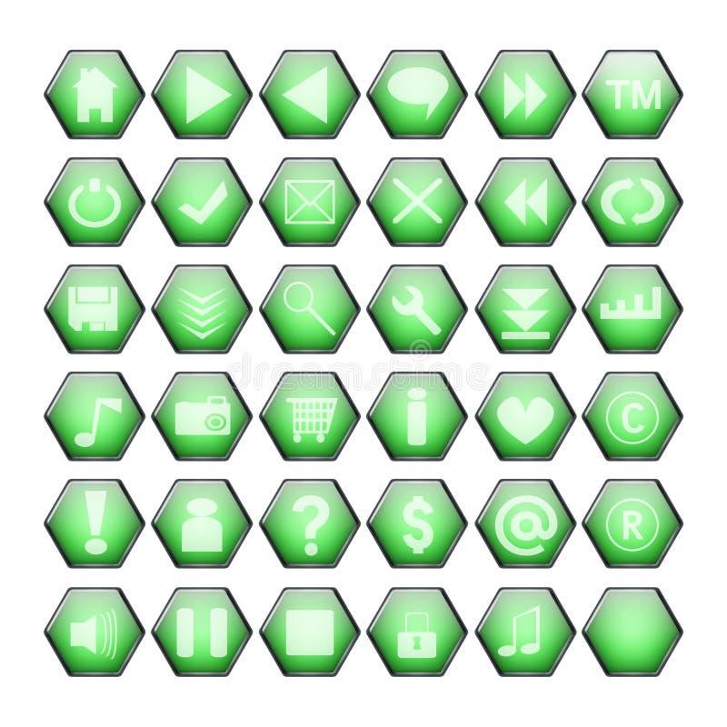 Grüne Web-Tasten lizenzfreie abbildung
